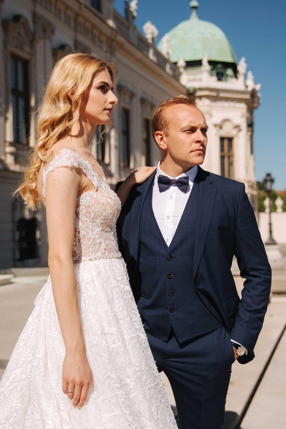 costume 3 pièces de mariage sur mesure bleu