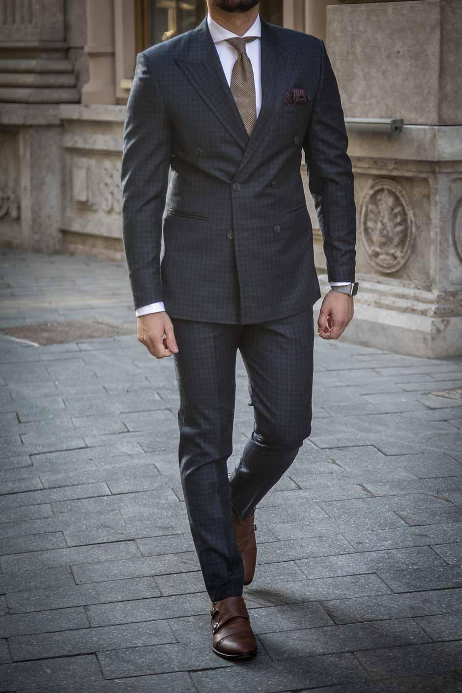 costume veste croisée sur mesure